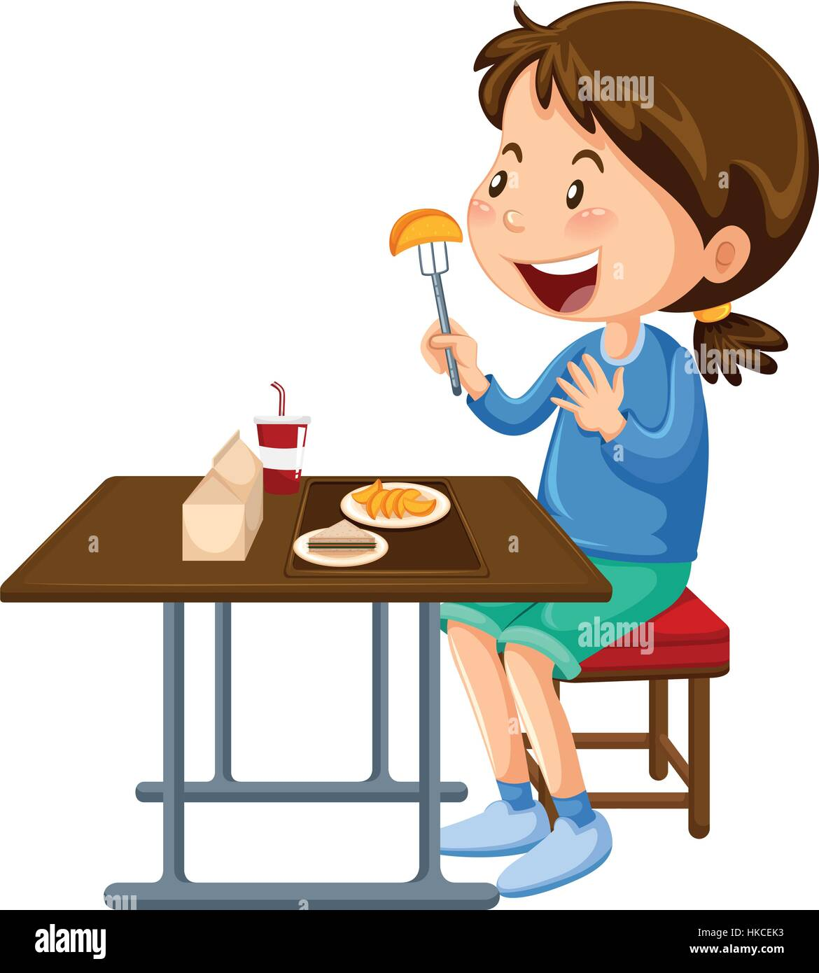 girl eating at the canteen dining table illustration stock Students in Line Clip Art Sitting at Lunch Clip Art