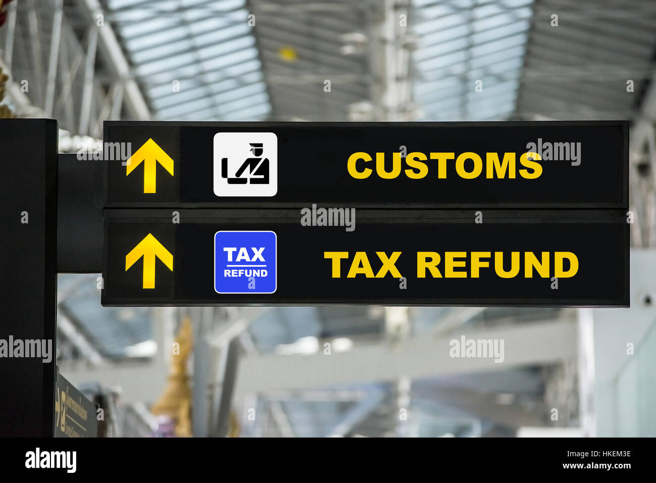 airport tax refund and customs sign in terminal at airport. Black Bedroom Furniture Sets. Home Design Ideas