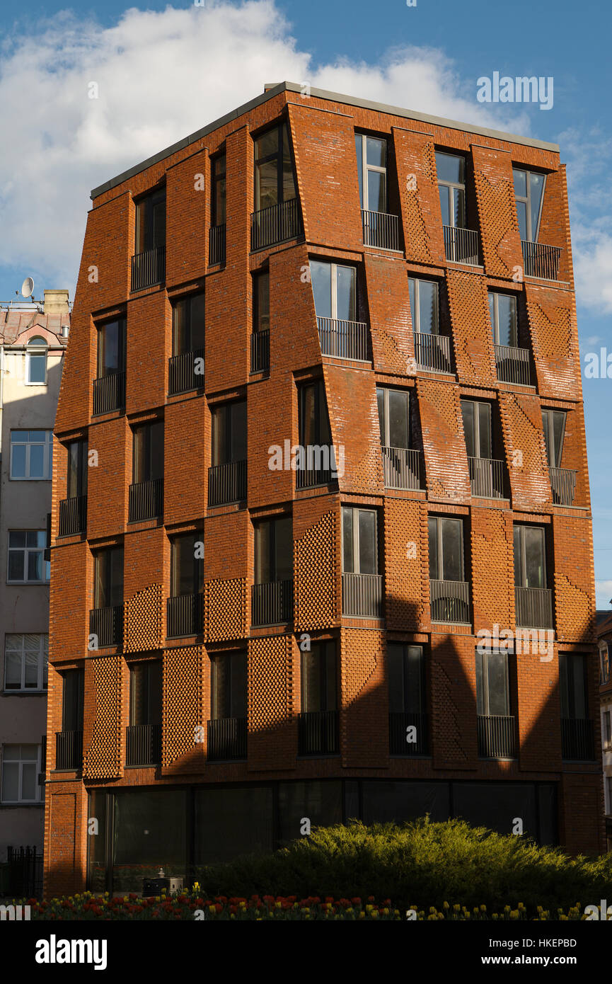 Genial Facade Of Modern Brick Apartment House, Conceptual Design