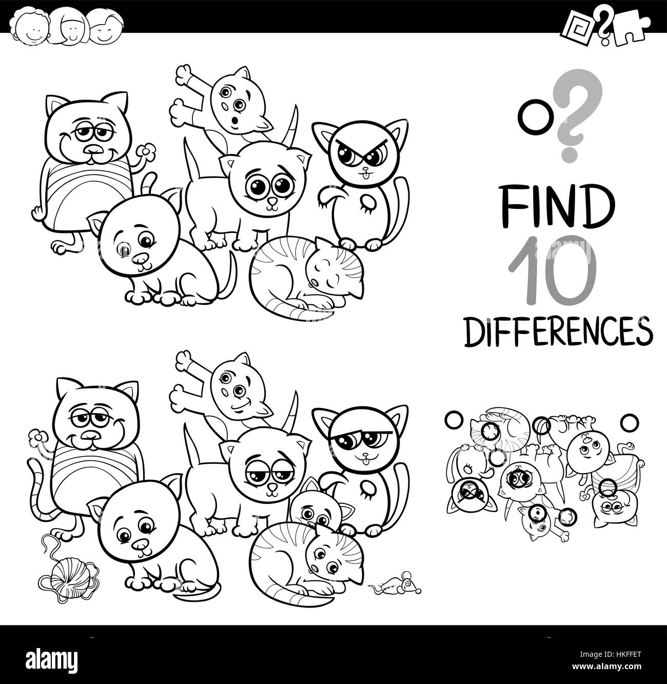 black and white cartoon illustration of finding differences stock