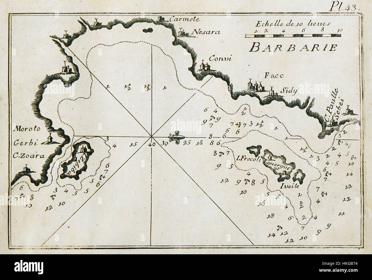 Map of part of the bay of Gabes near Sidi Mansour and Sfax Tunisia