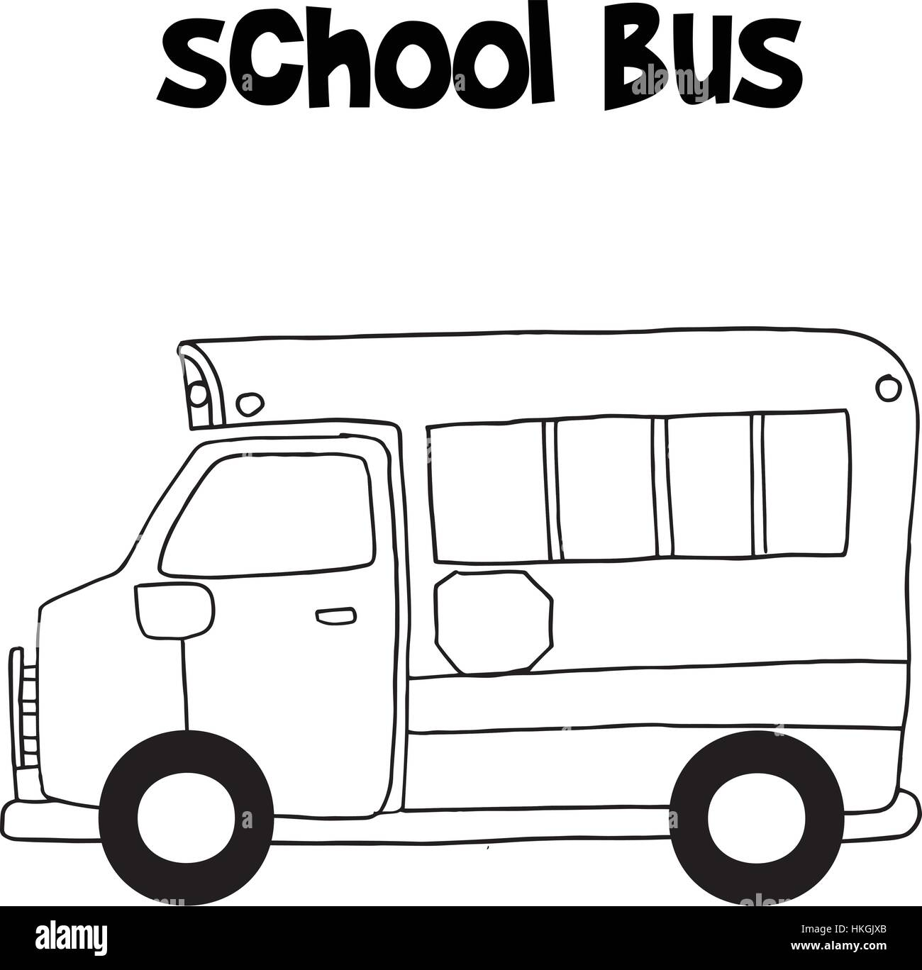 school bus with hand draw vector