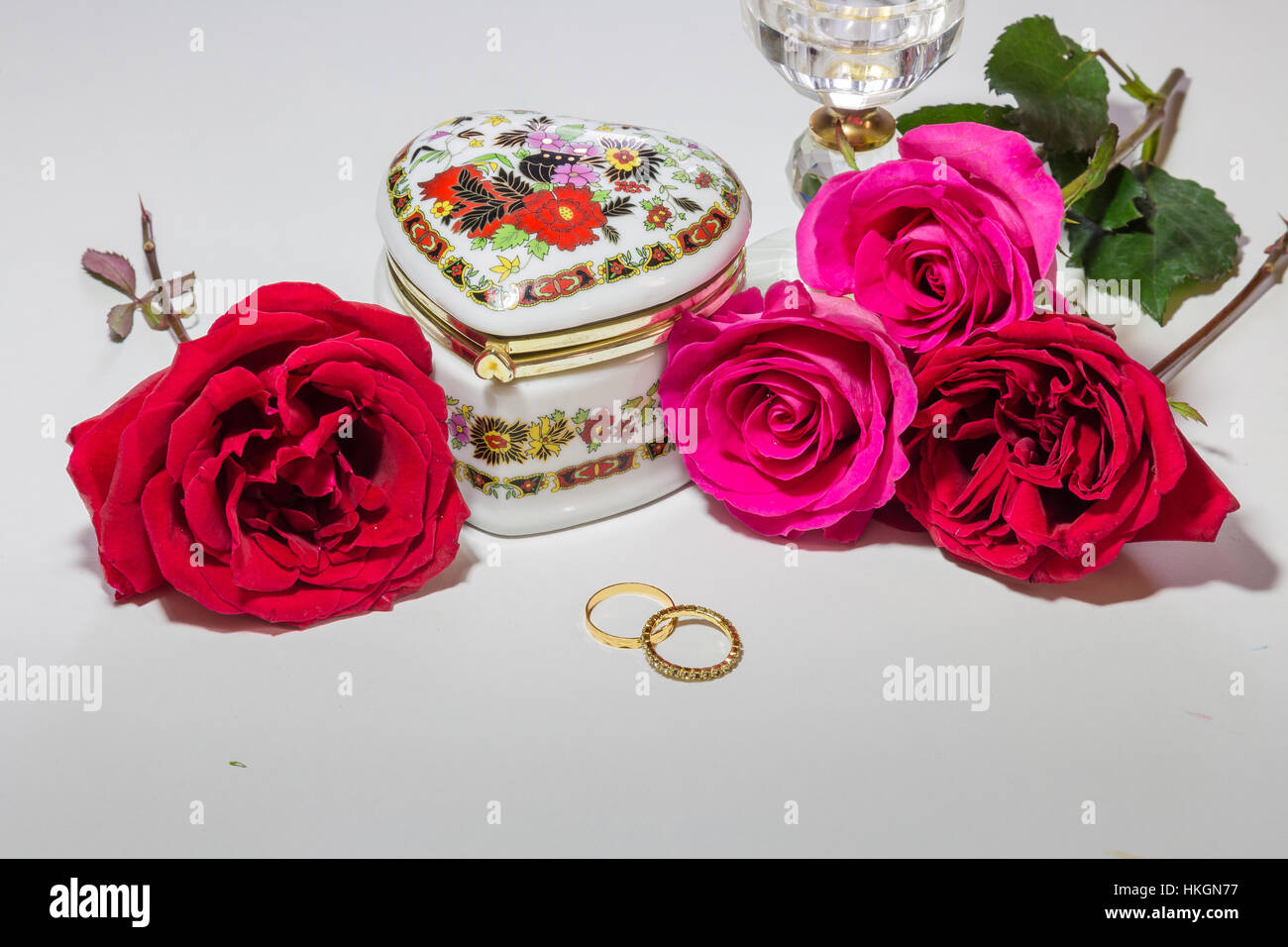 Romantic heart shaped embroidered jewelry box with bright red and