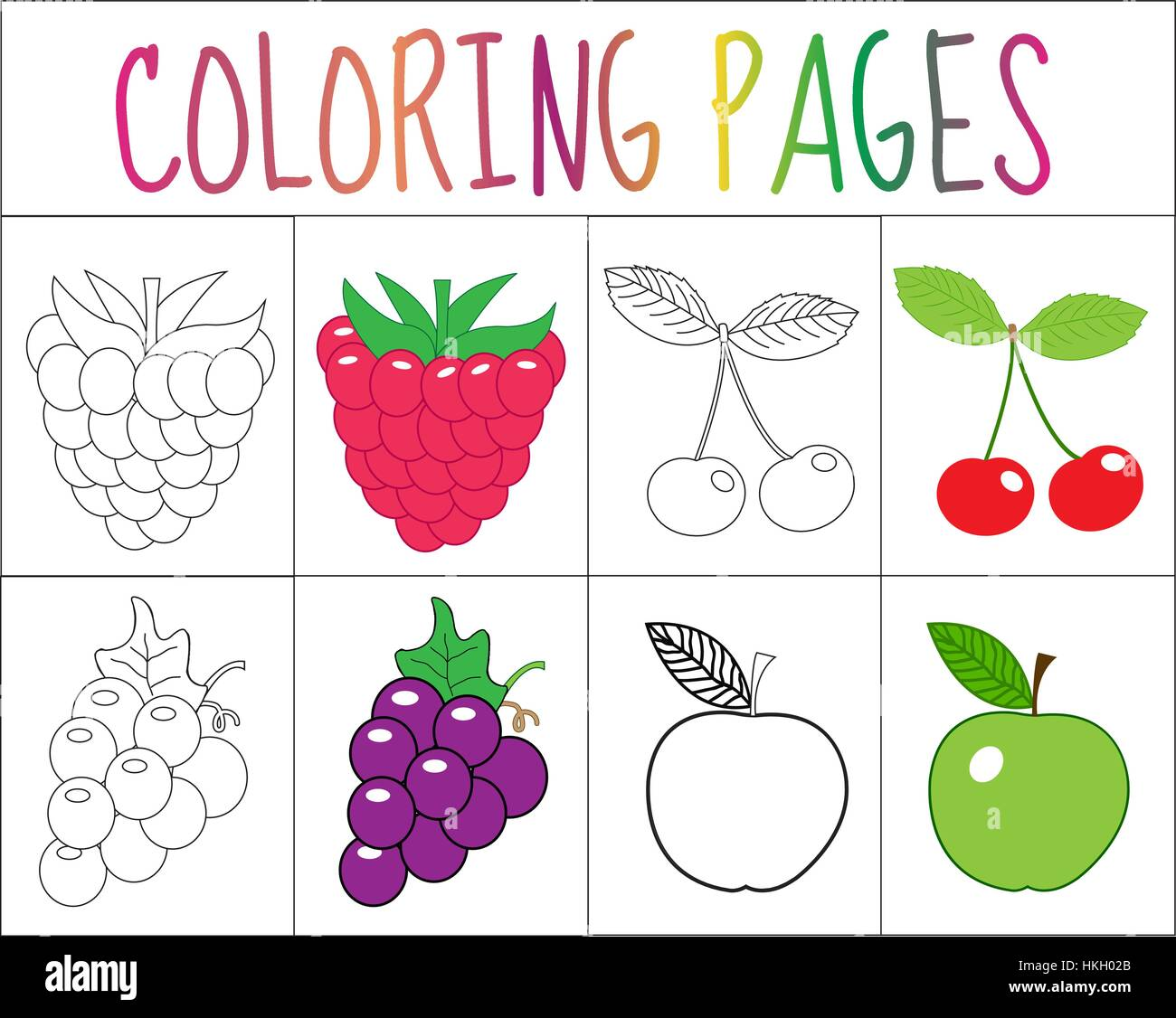 Coloring Book Page Set Fruits Collection Sketch And Color Version For Kids Childrens Education Vector Illustration
