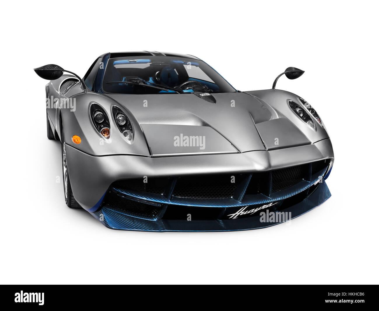 Silver Pagani Huayra Exotic Italian Sports Car Supercar