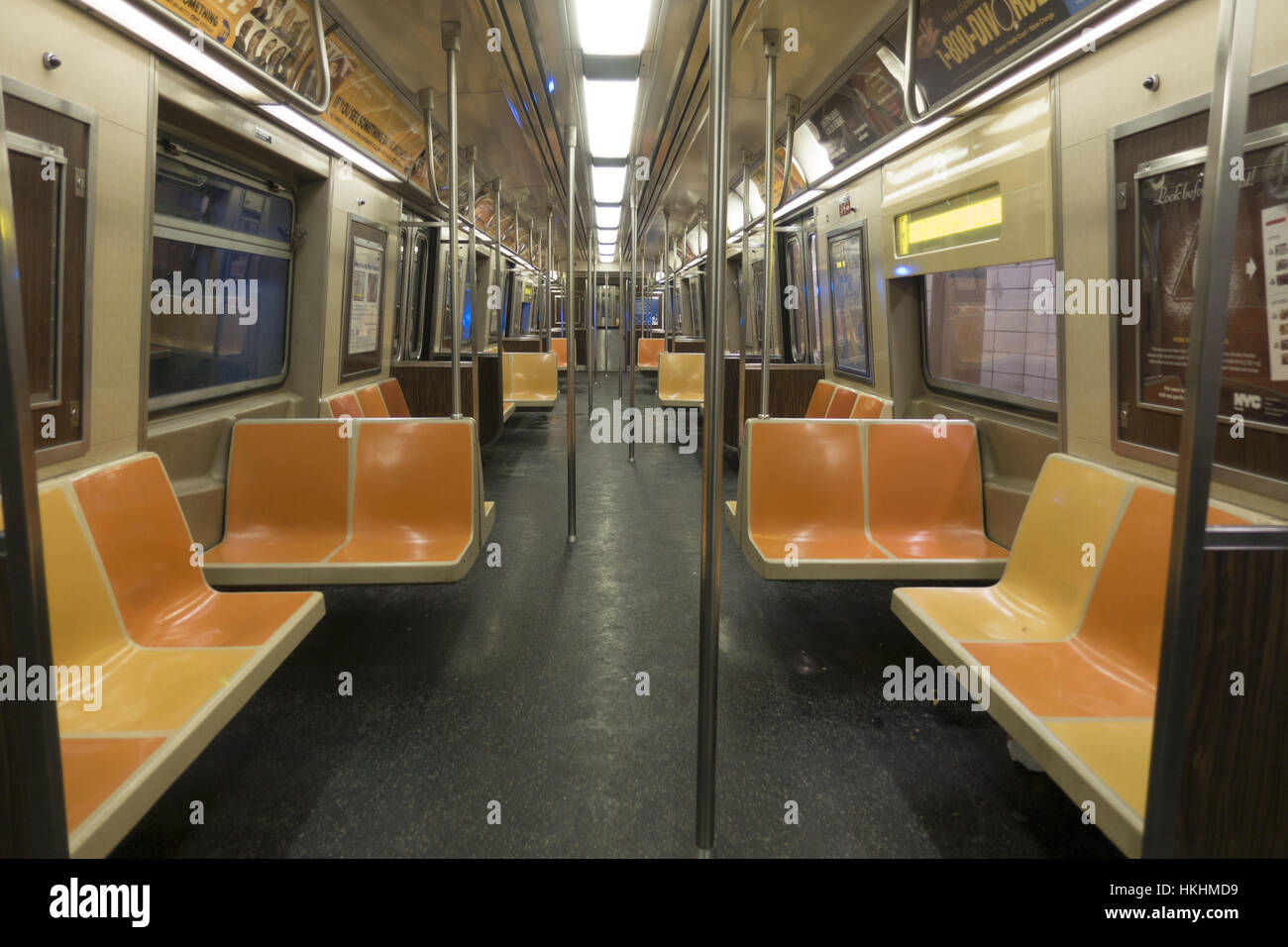 empty f train subway car in new york city stock photo royalty free image 132540277 alamy. Black Bedroom Furniture Sets. Home Design Ideas