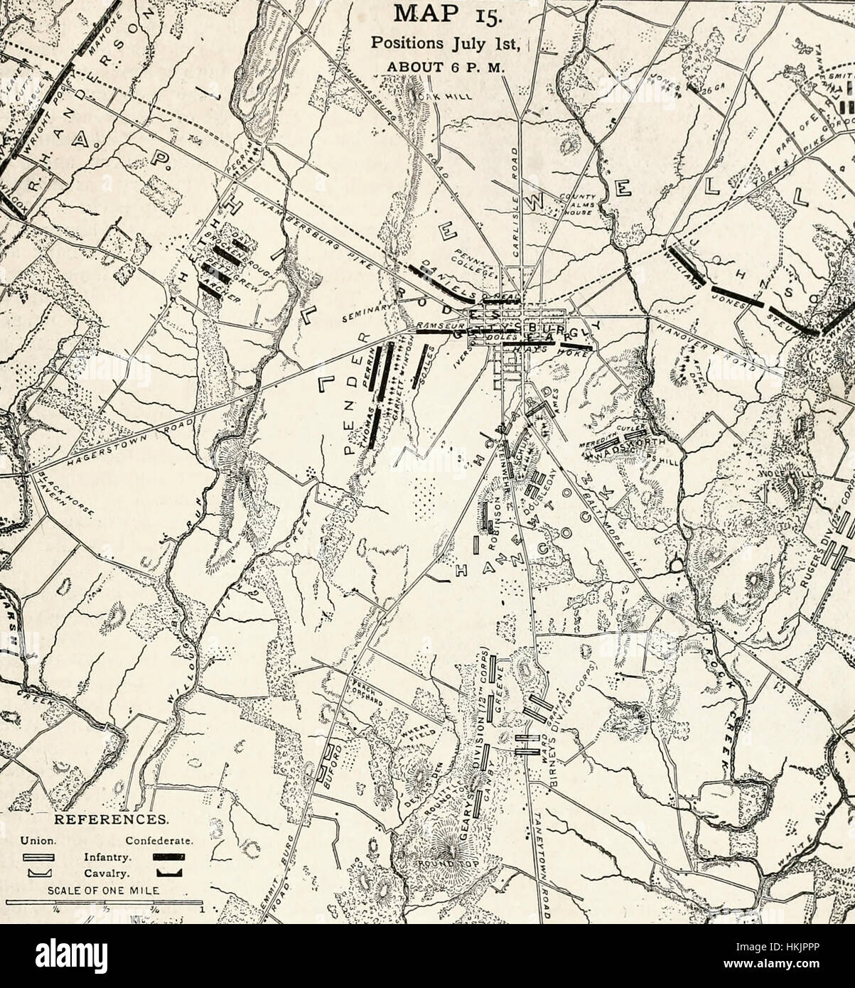 Map Of First Day At Battle Of Gettysburg USA Civil War Stock - Battle of gettysburg us map