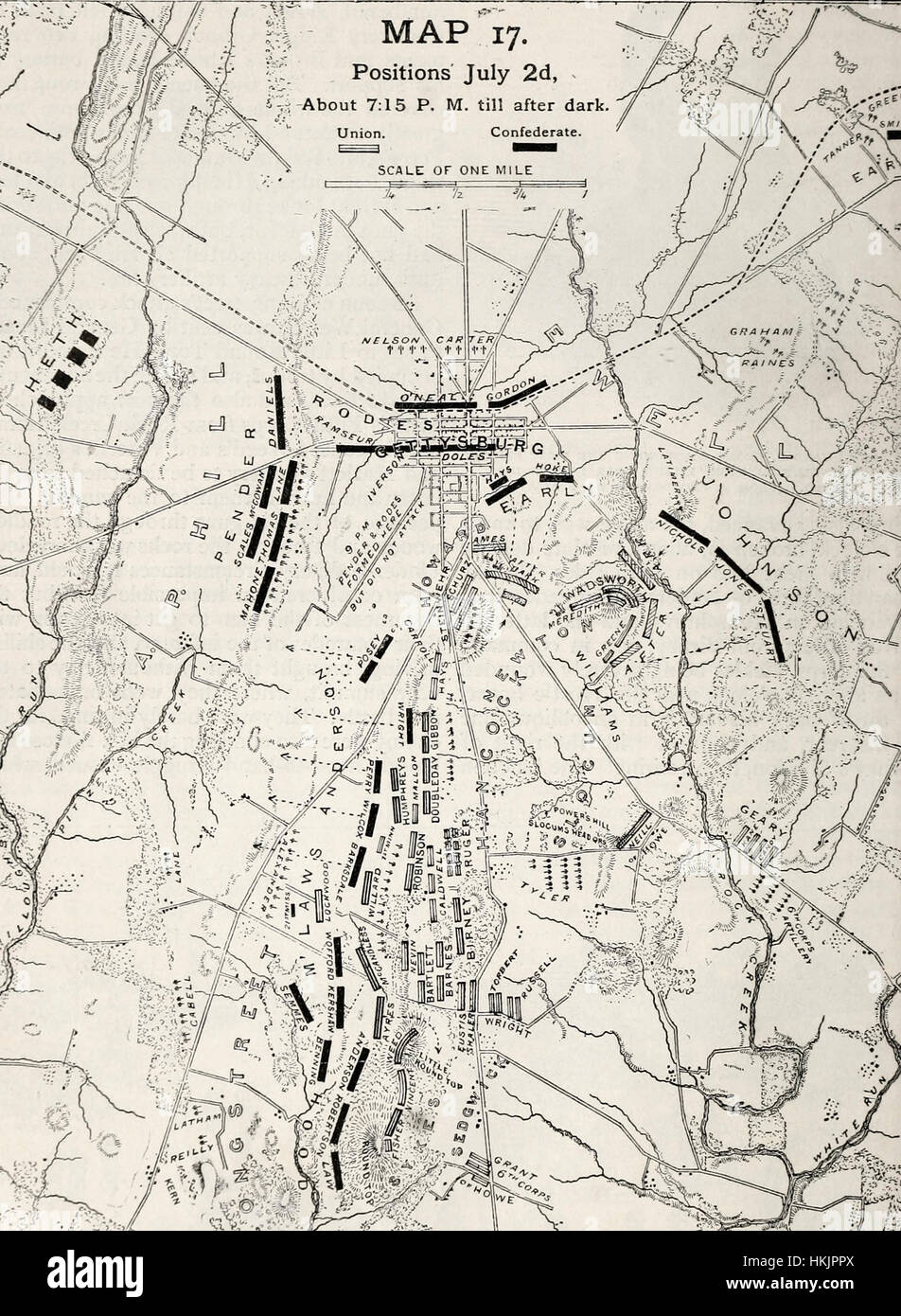 Map Of The Second Day Of Battle Of Gettysburg USA Civil War Stock - Battle of gettysburg us map
