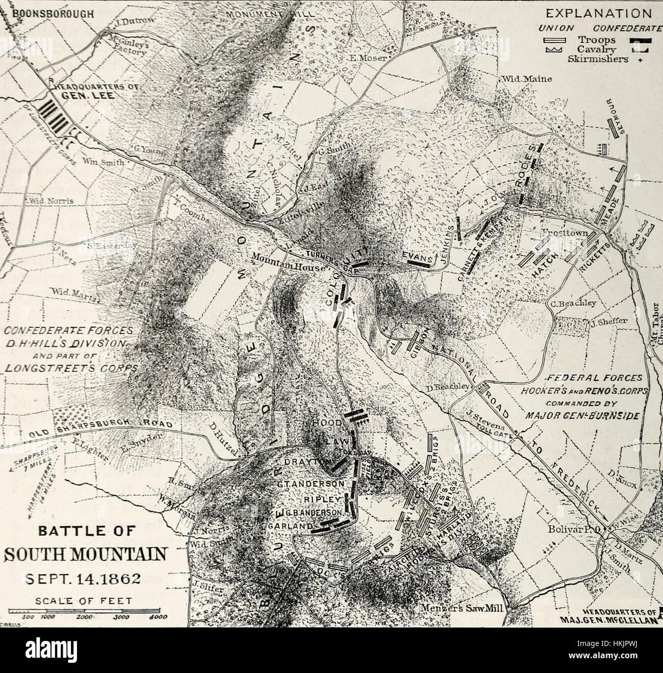 Map Of Battle Of South Mountain September USA Civil War - Map of us during civil war