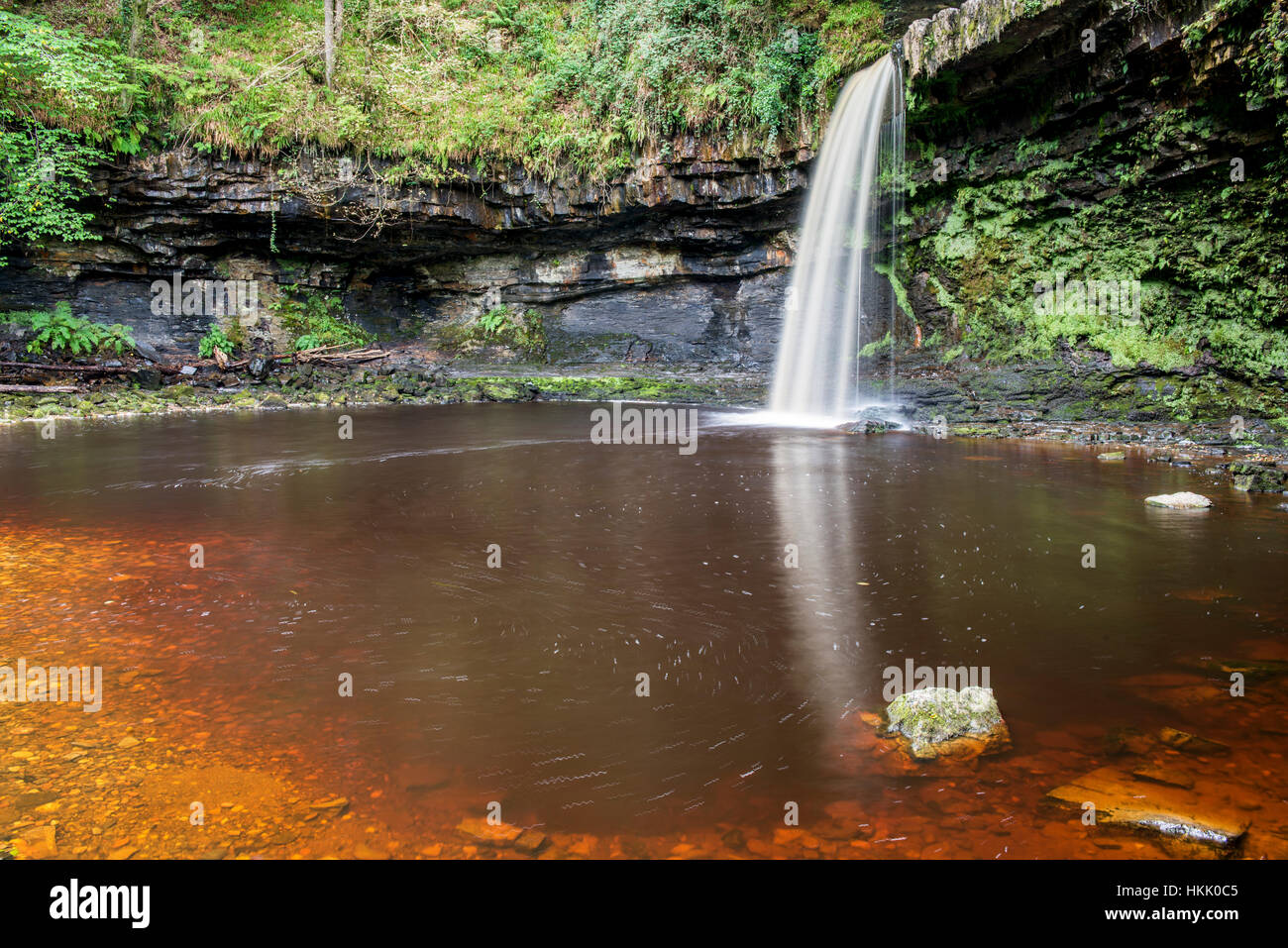 Waterfall On A River In The Neath Valley Of South Wales