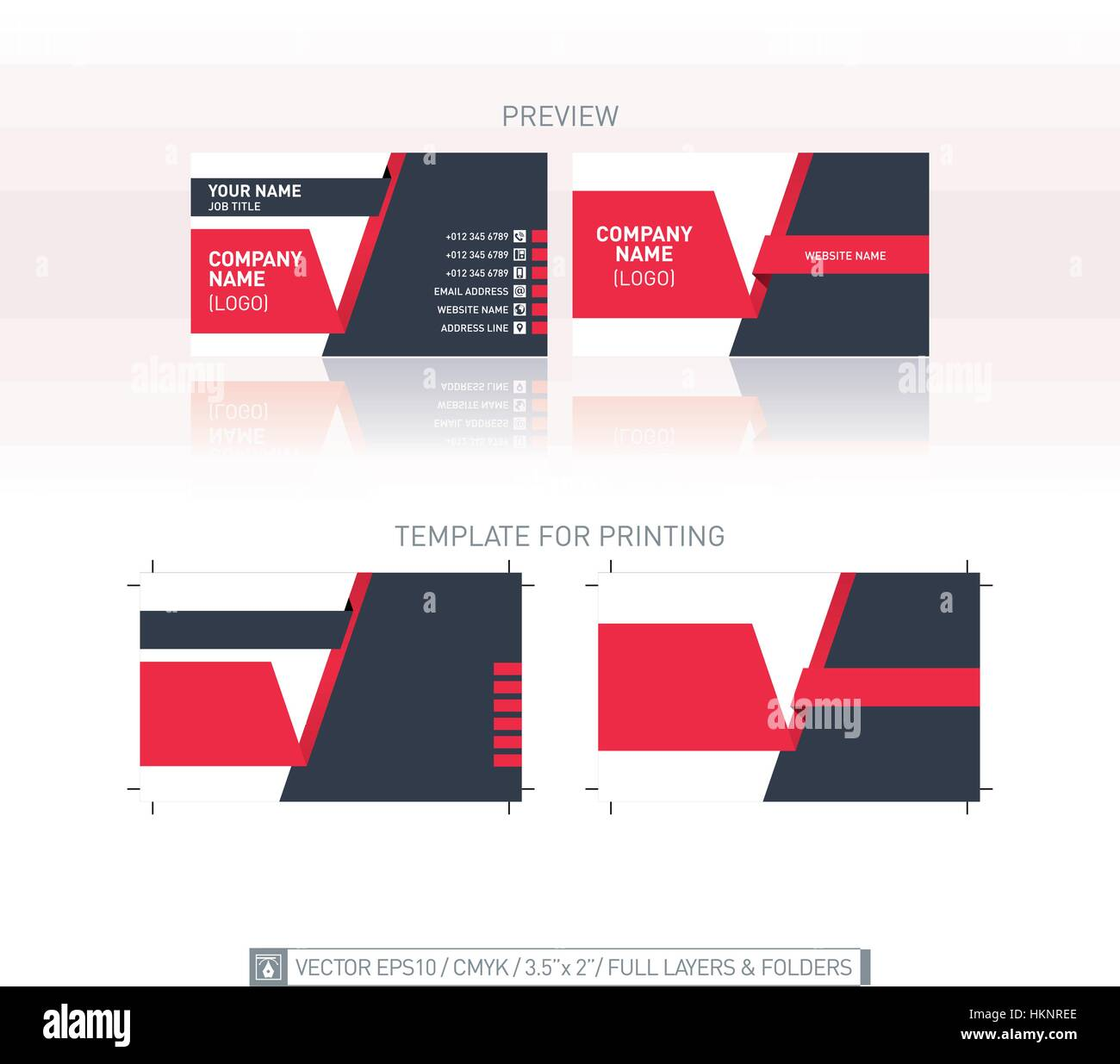 Vector business card template. One-to-one dimensions for printing ...