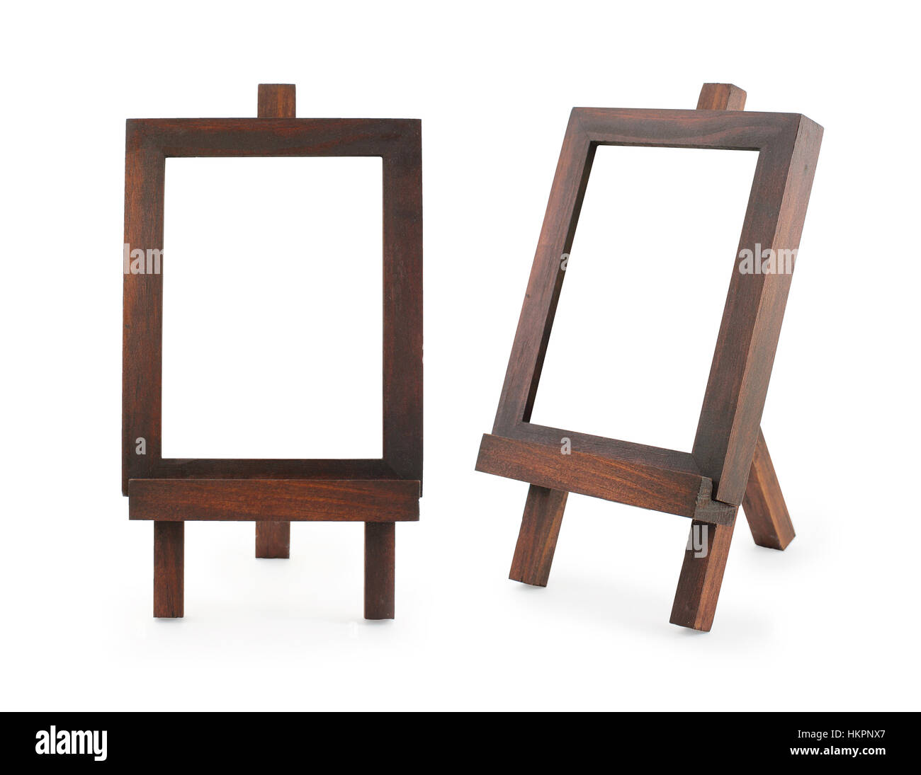 Wooden easel frame isolated on white background Stock Photo ...