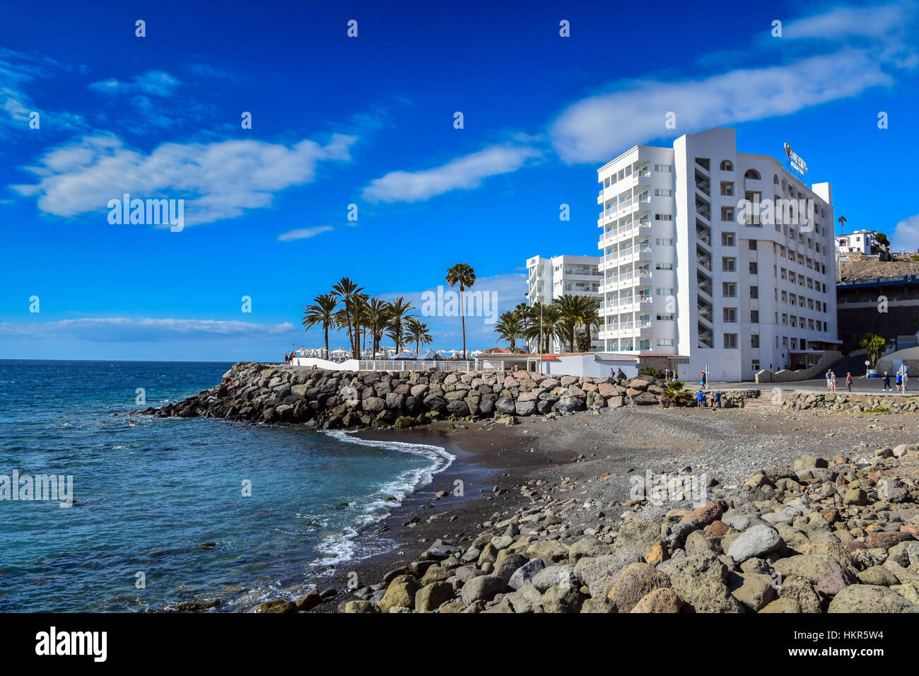 White sunwing family resort hotel on beach arguineguin gran canaria stock photo