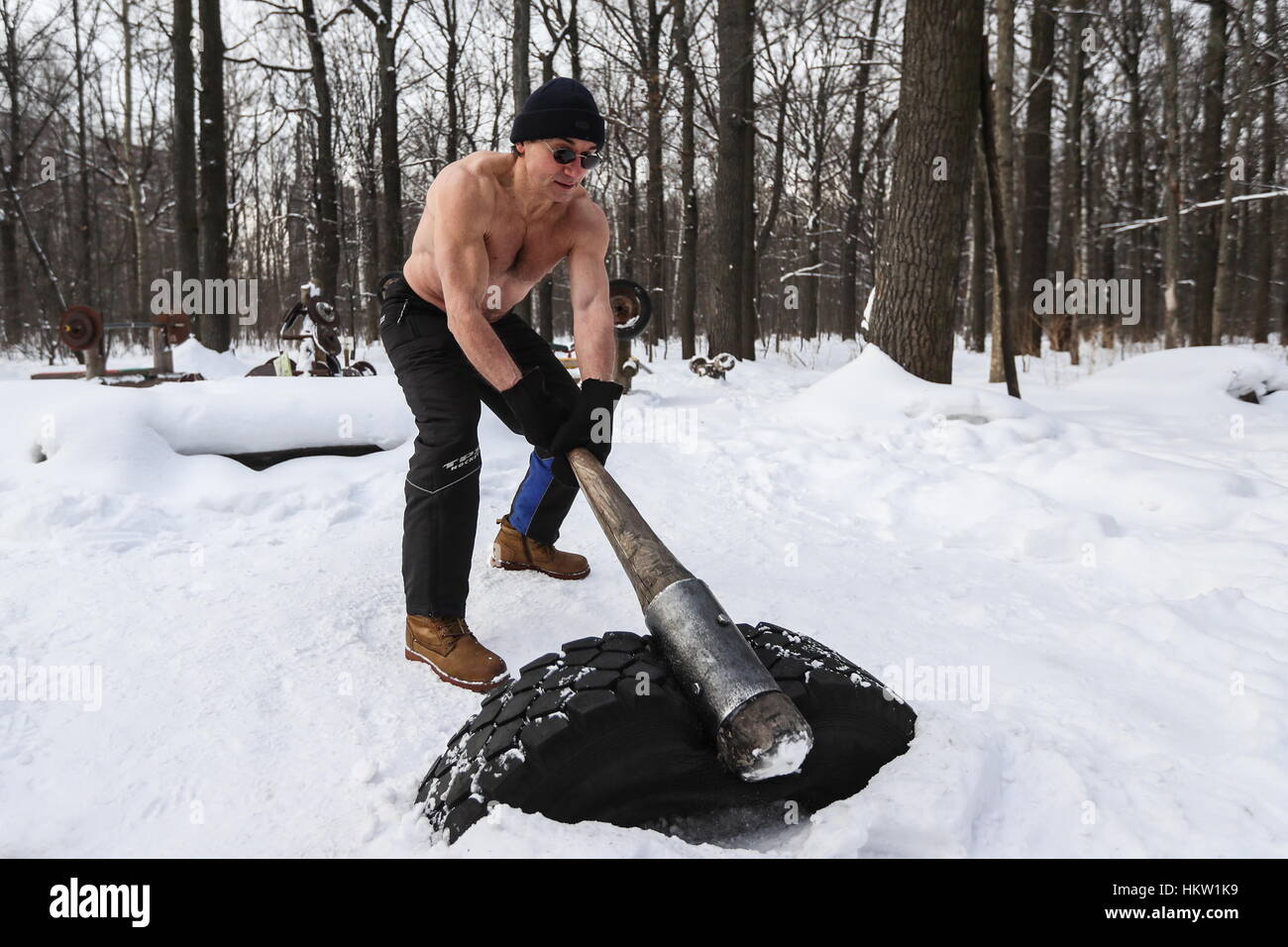 Moscow, Russia. 29th Jan, 2017. Alexander Volkov in a homemade Stock ...