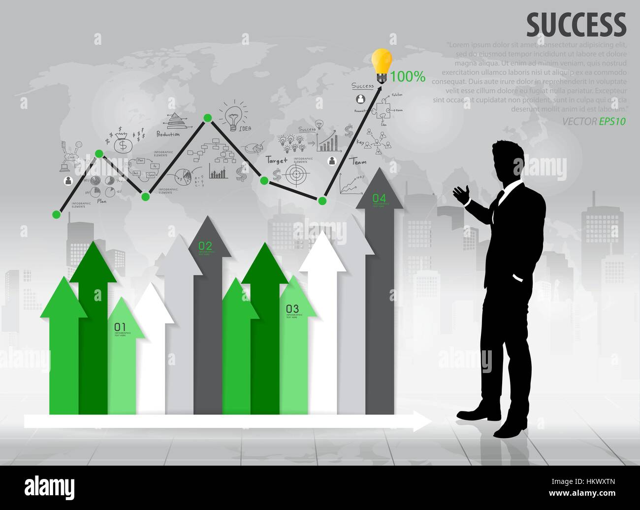 Businessman showing growth chart vector illustration stock vector businessman showing growth chart vector illustration geenschuldenfo Images
