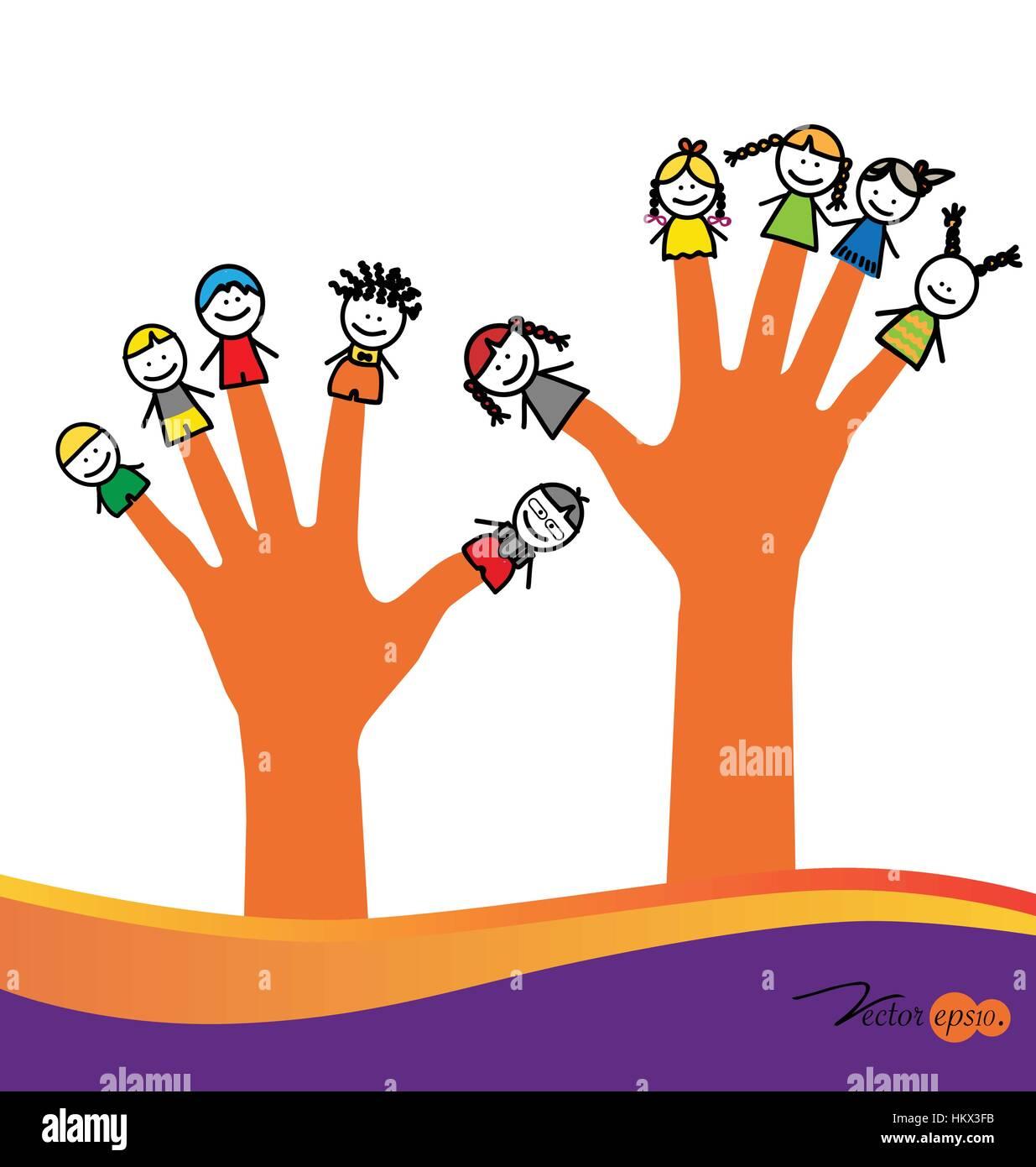 cute happy cartoon kids on fingers vector illustration - Kids Cartoon Picture