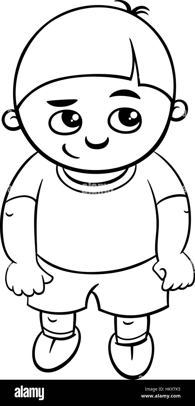 Age 9 coloring pages - Black And White Cartoon Illustration Of Elementary School Age Or Preschool Boy Coloring Page