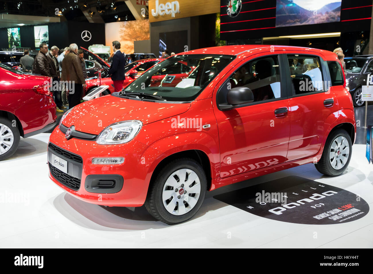 brussels jan 19 2017 new fiat panda pop on display at. Black Bedroom Furniture Sets. Home Design Ideas