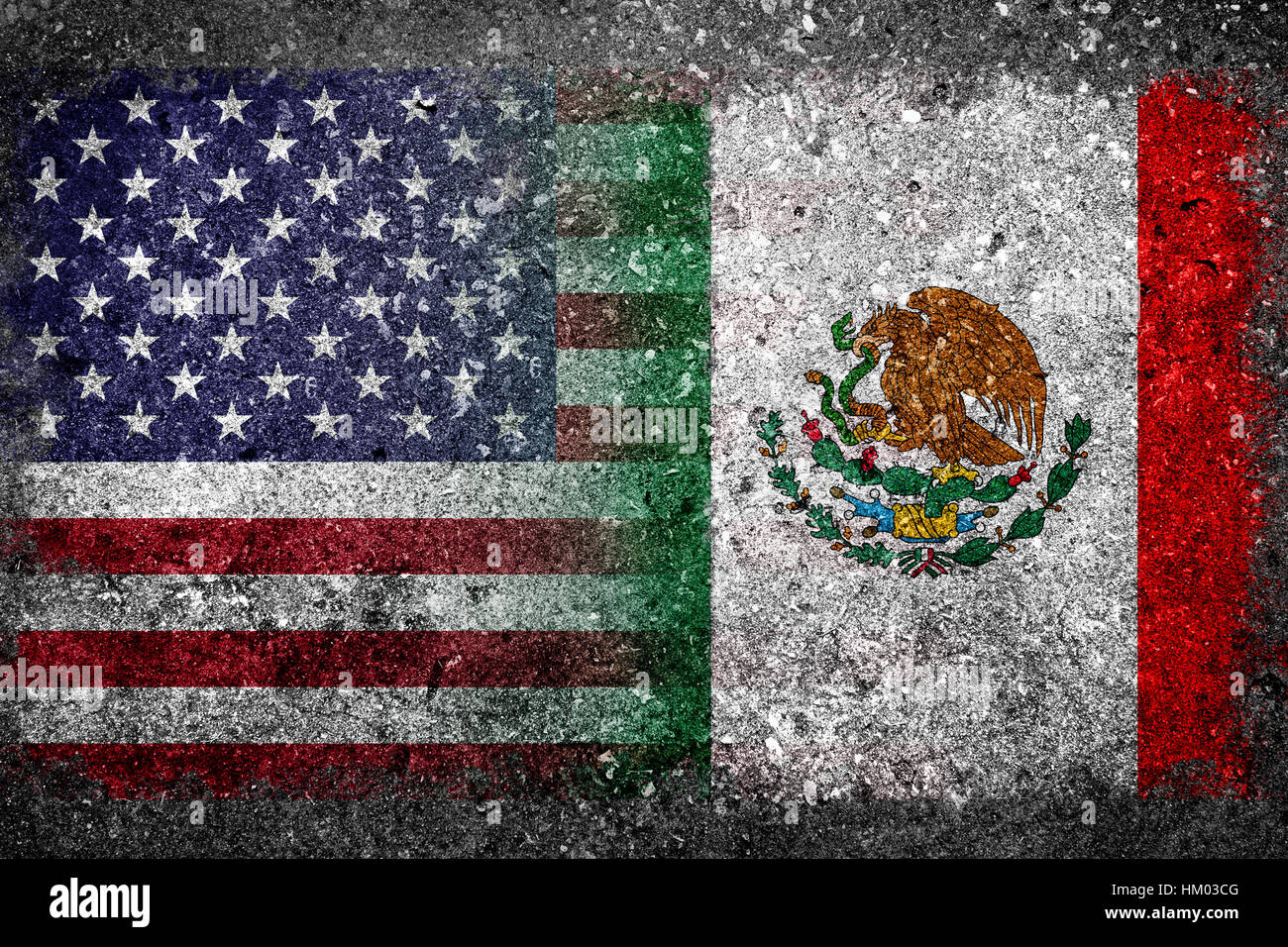Merged Flag Of USA And Mexico Painted On Grunge Concrete Concept - Usa and mexico