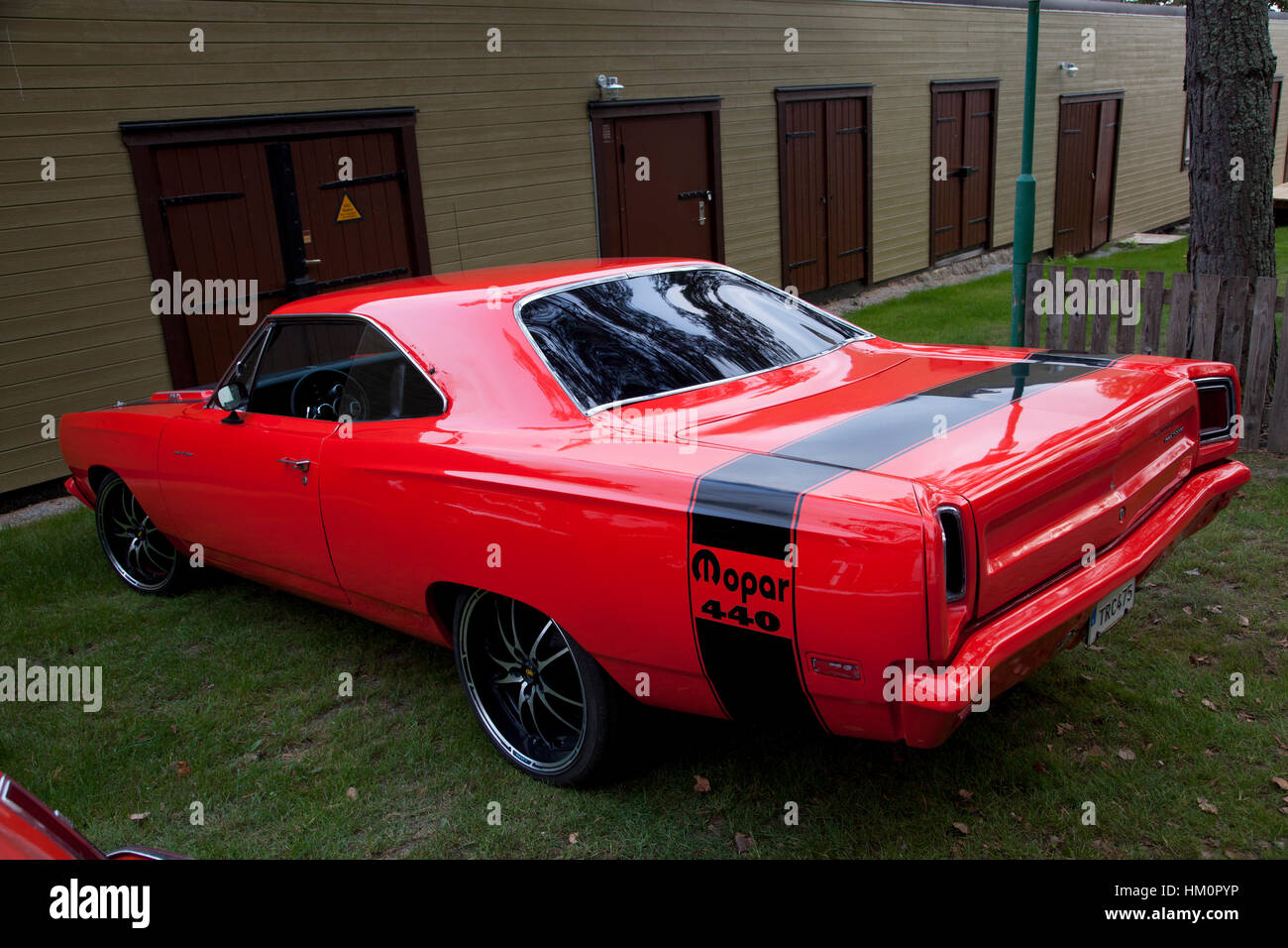 Car meet with American muscle cars in Sweden Stock Photo, Royalty ...