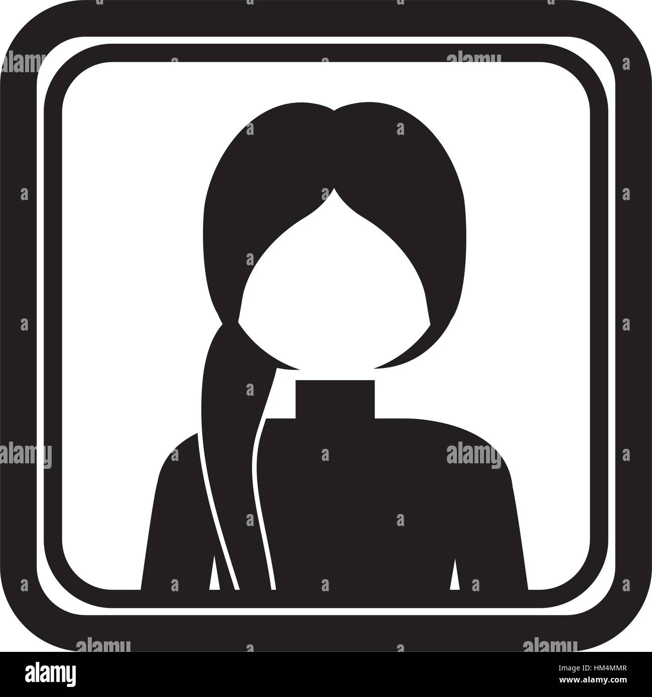 square border with silhouette half body ponytail woman vector illustration