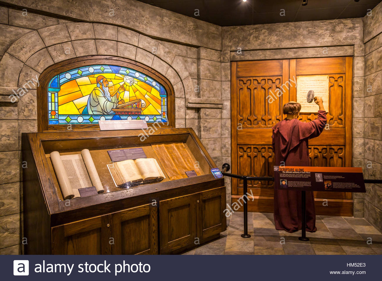 a martin luther biblical exhibit at the creation museum in stock