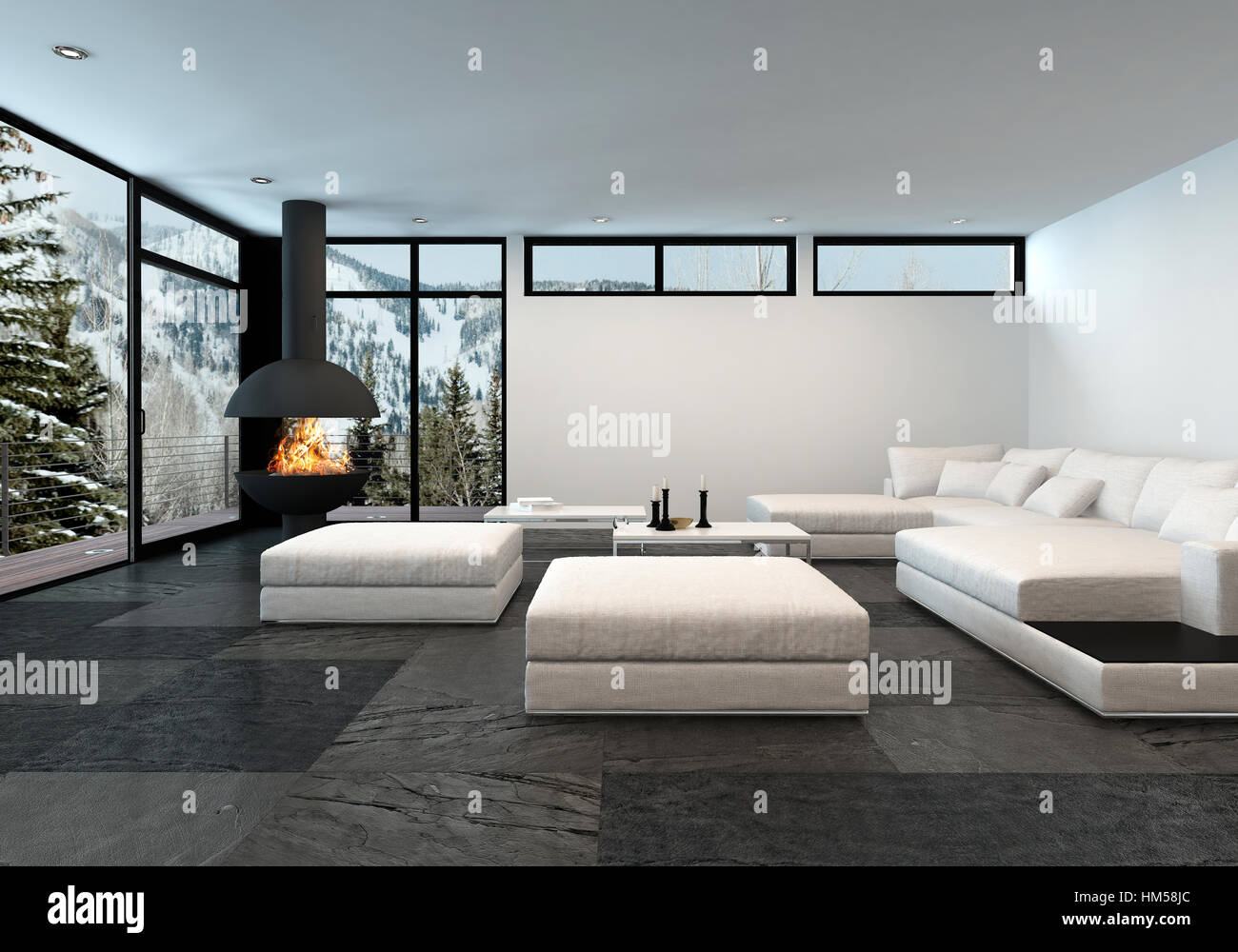 Large mountain view apartment with fireplace and all white Stock ...