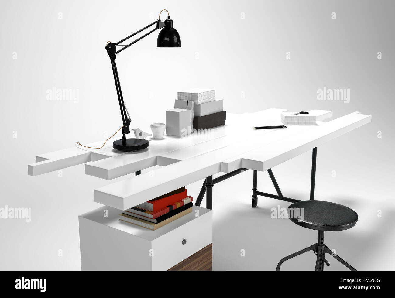 White modern office desk concept with lamp, round stool. Futuristic  furniture 3D concept isolated on white background
