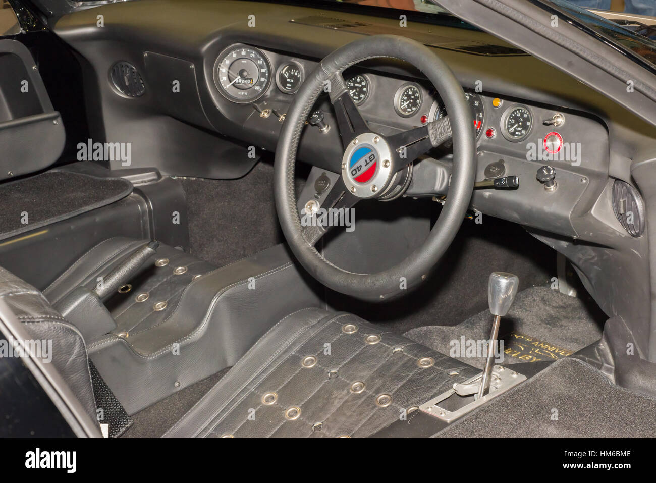 1960s ford gt40 race car right hand drive interior and dashboard at stock photo royalty free. Black Bedroom Furniture Sets. Home Design Ideas