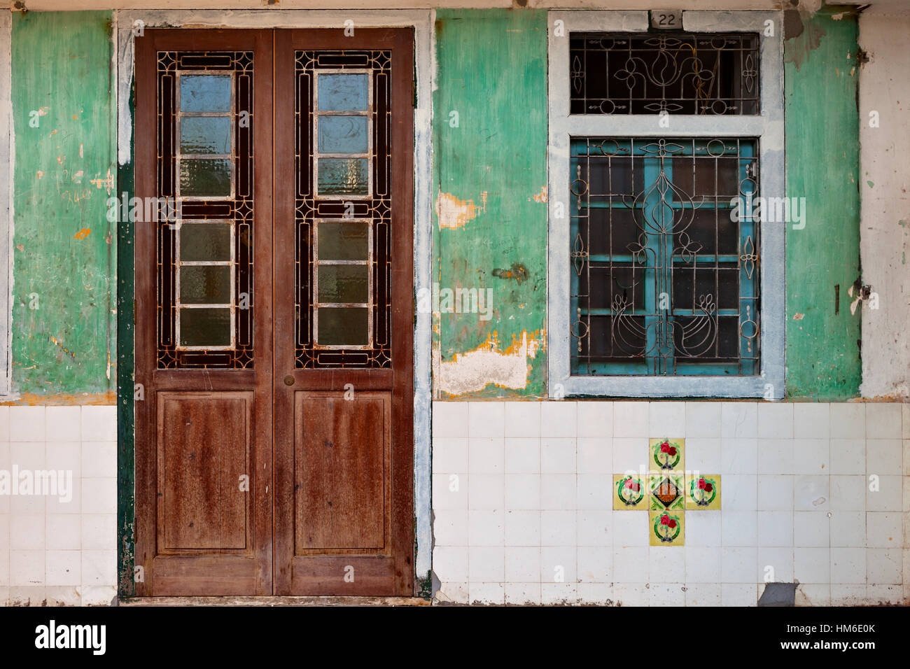 front house door texture. Locked Wooden Front Door And Window Of Traditional Chinese Old House In Georgetown, Penang. Vintage Effect Texture E