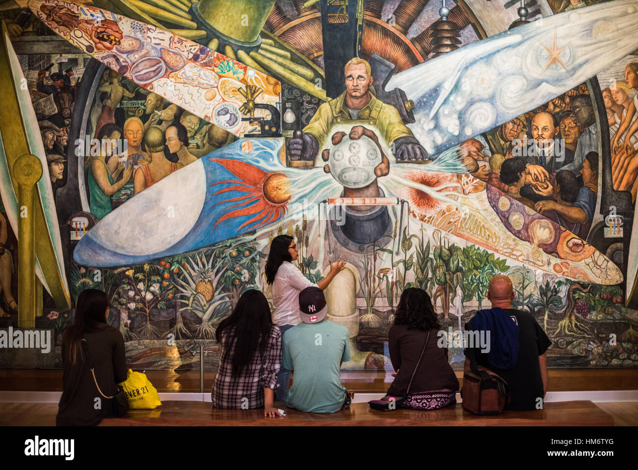 A large painting by mexican painter diego rivera titled for Diego rivera rockefeller mural