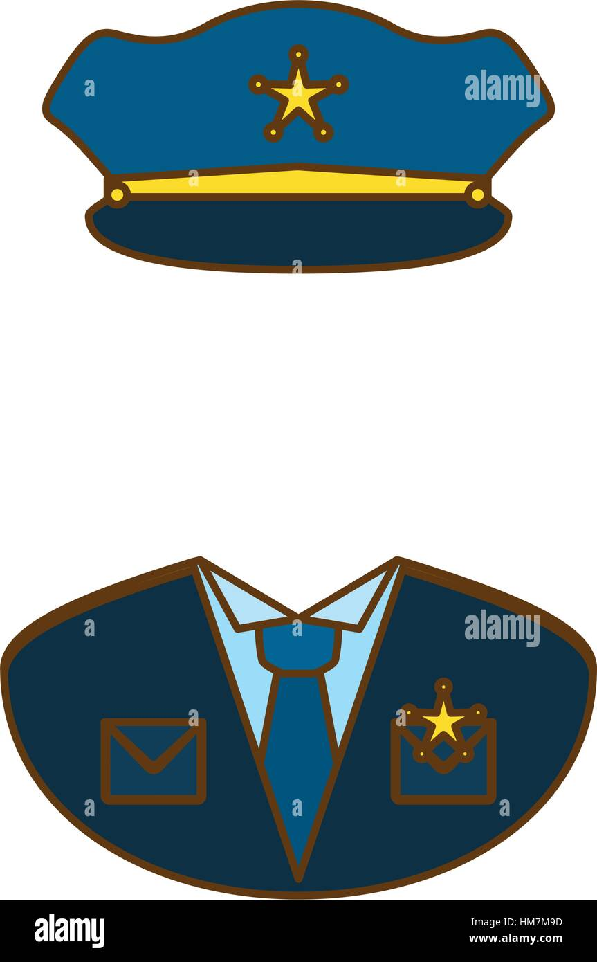 blue police uniform icon image, vector illustration Stock ...