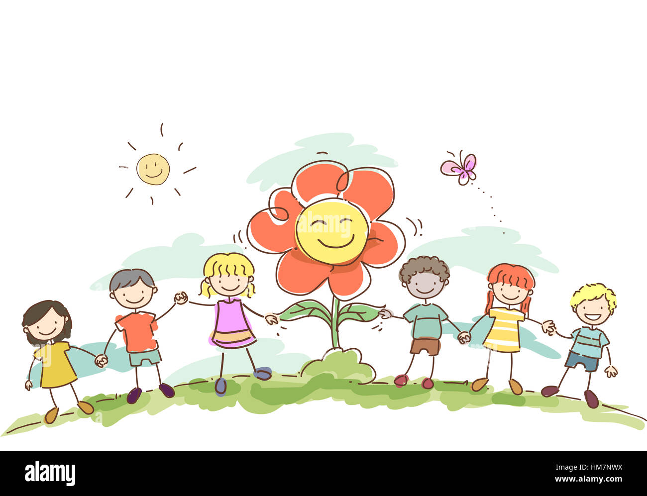 stickman illustration of kids holding hands with a giant flower