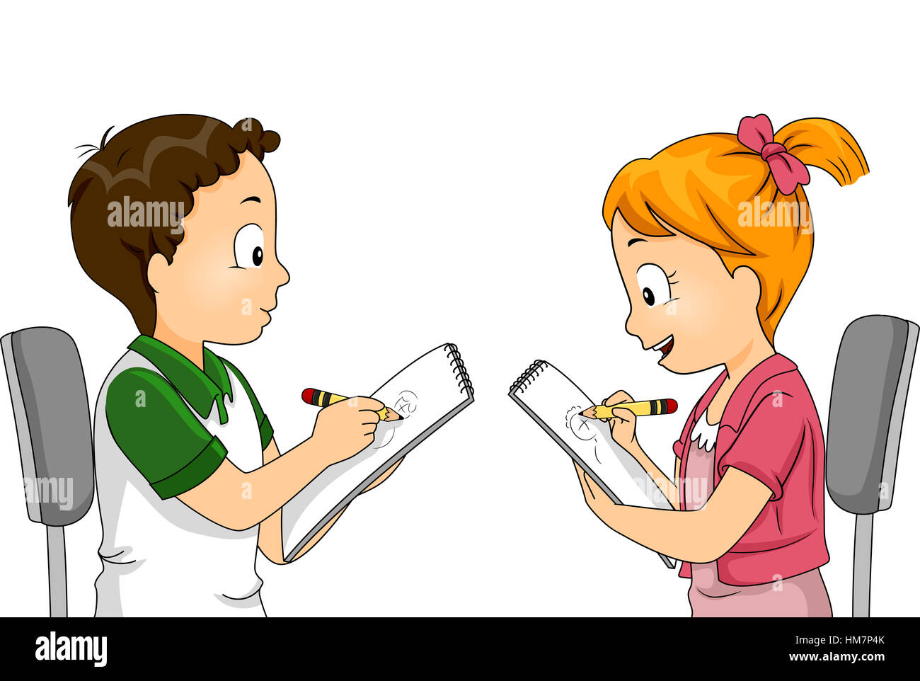 illustration of children drawing each other stock photo royalty