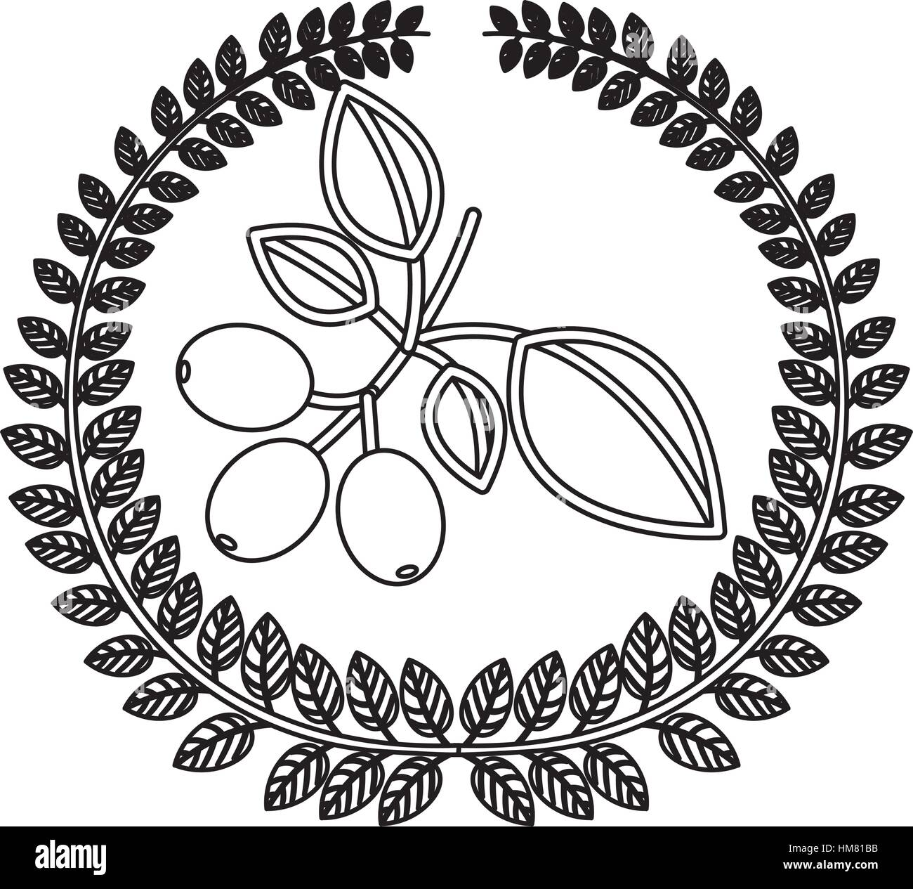 silhouette crown of leaves with coffee tree branch vector stock
