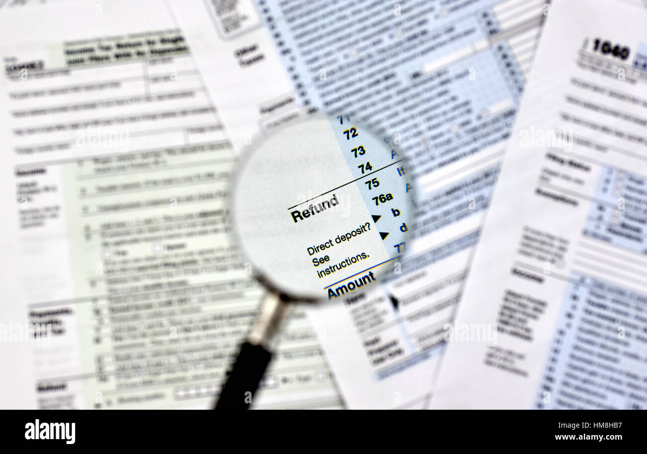 Refund under magnifying glass on 1040 us individual income tax refund under magnifying glass on 1040 us individual income tax return form falaconquin