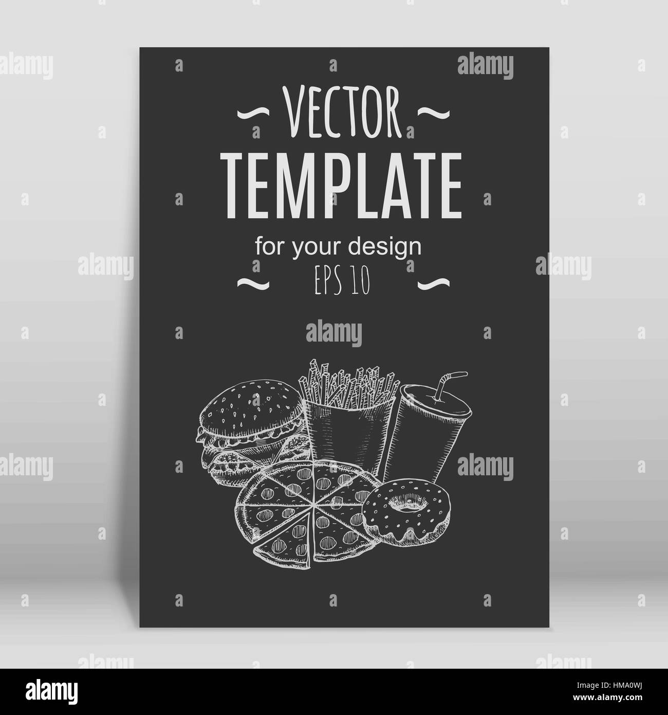 Fast food menu design template hand drawn vector. Illustration Stock ...