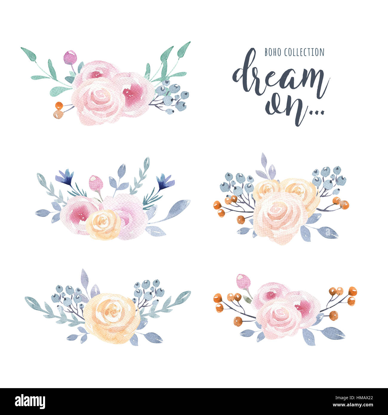 set of watercolor boho floral bouquets with raccoon watercolour