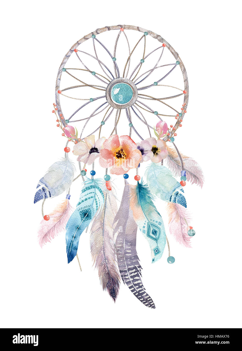 Isolated Watercolor Decoration Bohemian Dreamcatcher Boho Feath