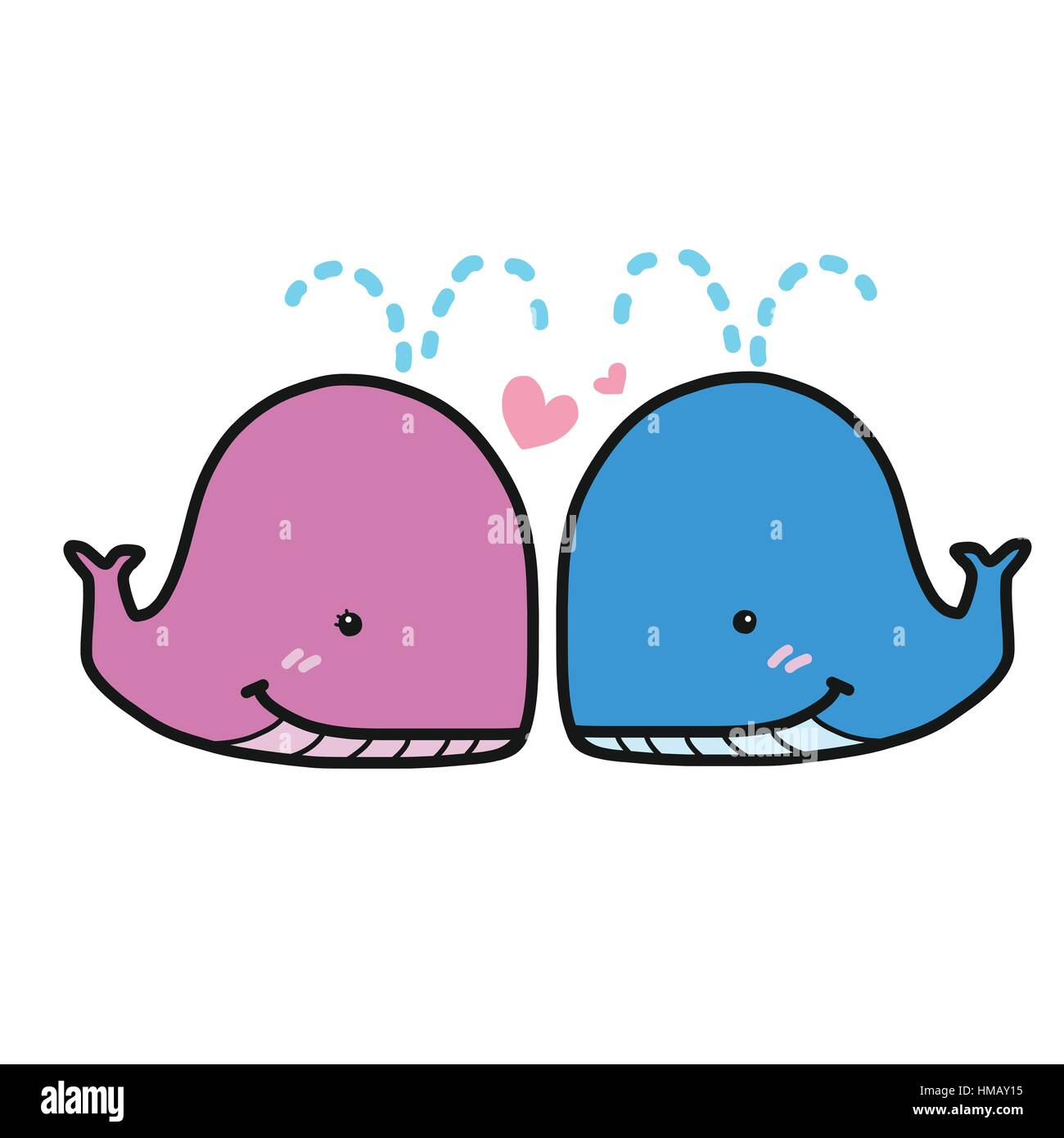 Cute whale in water cartoon isolated illustration stock photography - Cute Pink And Blue Couple Whales In Love Cartoon Vector Illustration