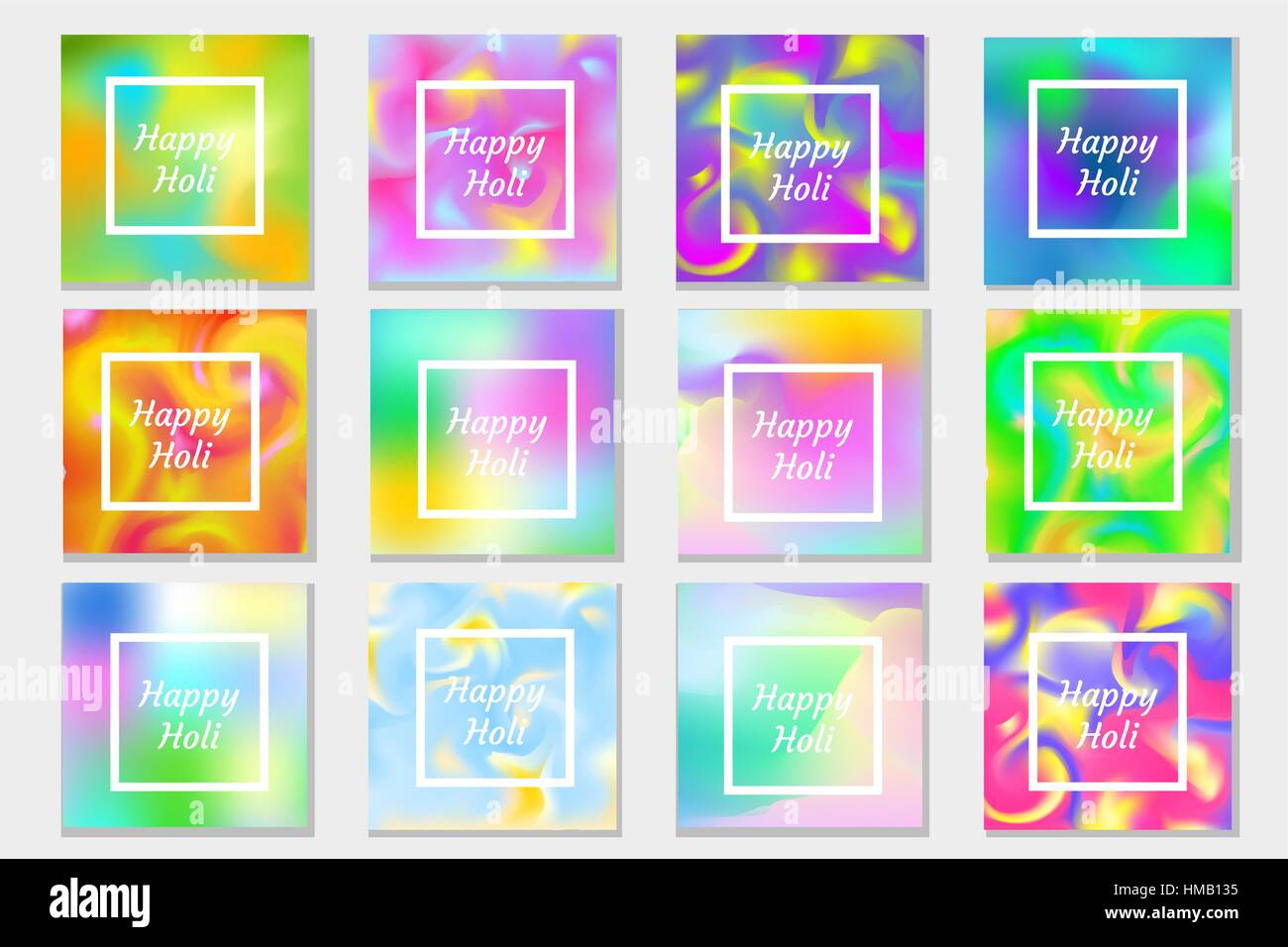Happy Holi festival in India set greeting card, poster, flyer ...