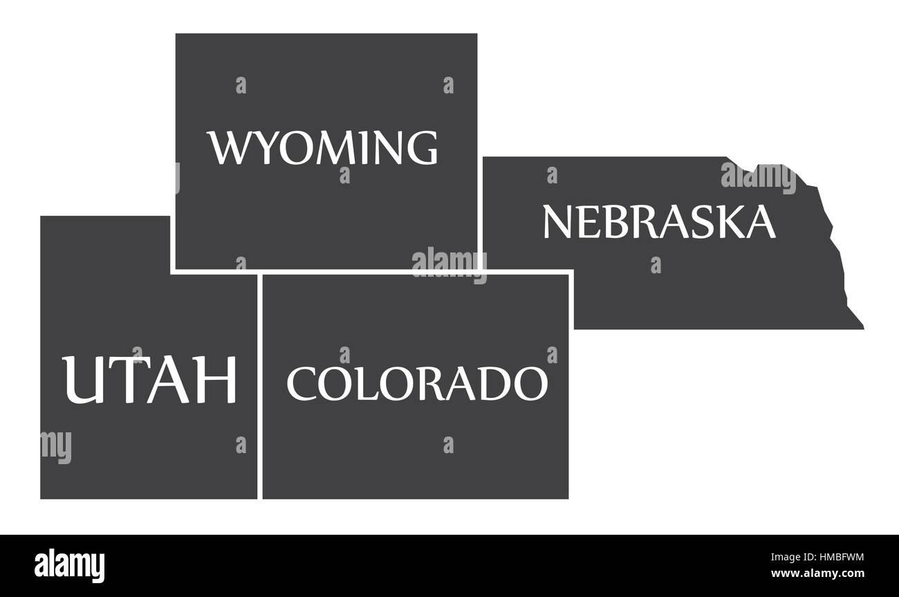 Utah Wyoming Colorado Nebraska Map Labelled Black Ilration