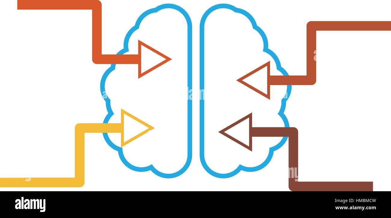 Infographics represent the brain symbol with four arrows shows stock infographics represent the brain symbol with four arrows shows directions of information flow biocorpaavc Images