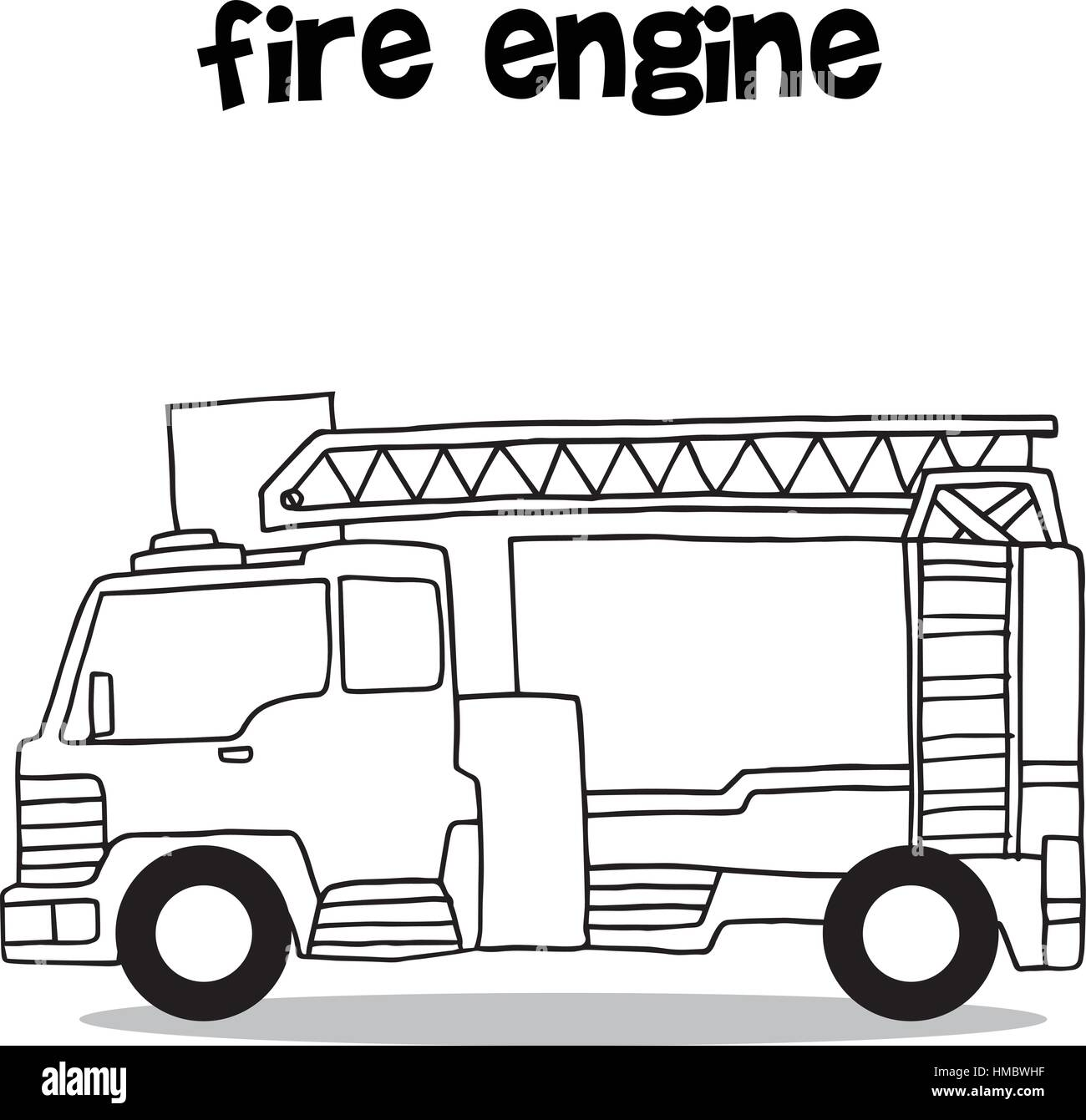 hand draw of fire engine