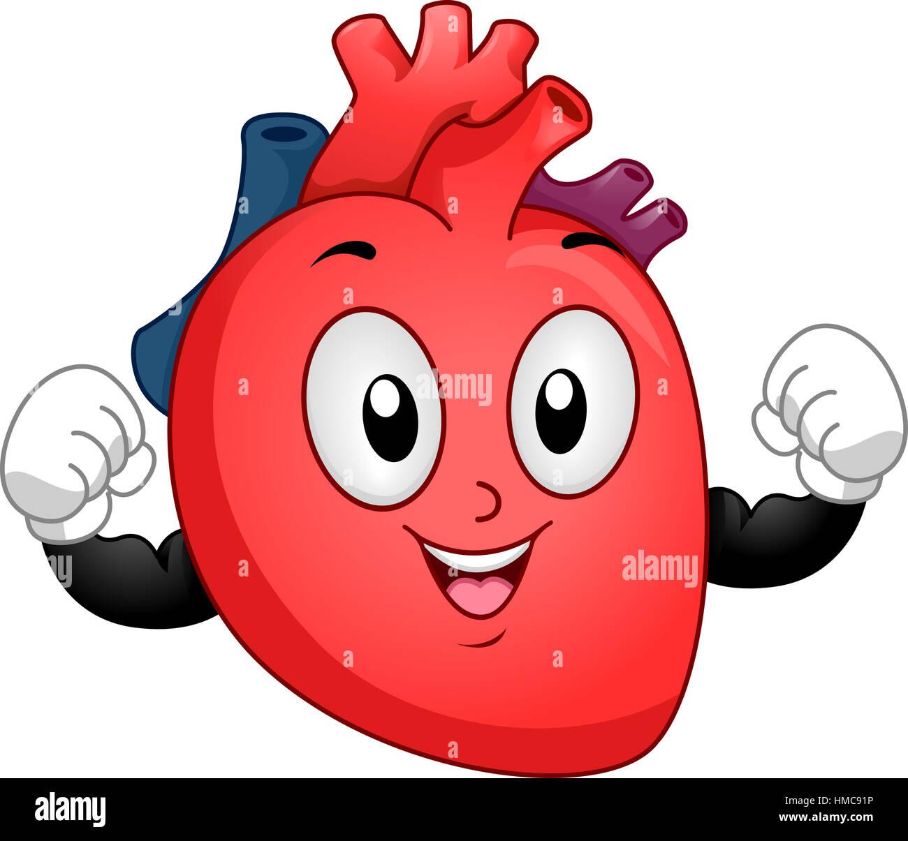 Mascot Illustration of a Healthy Human Heart Flexing its ...