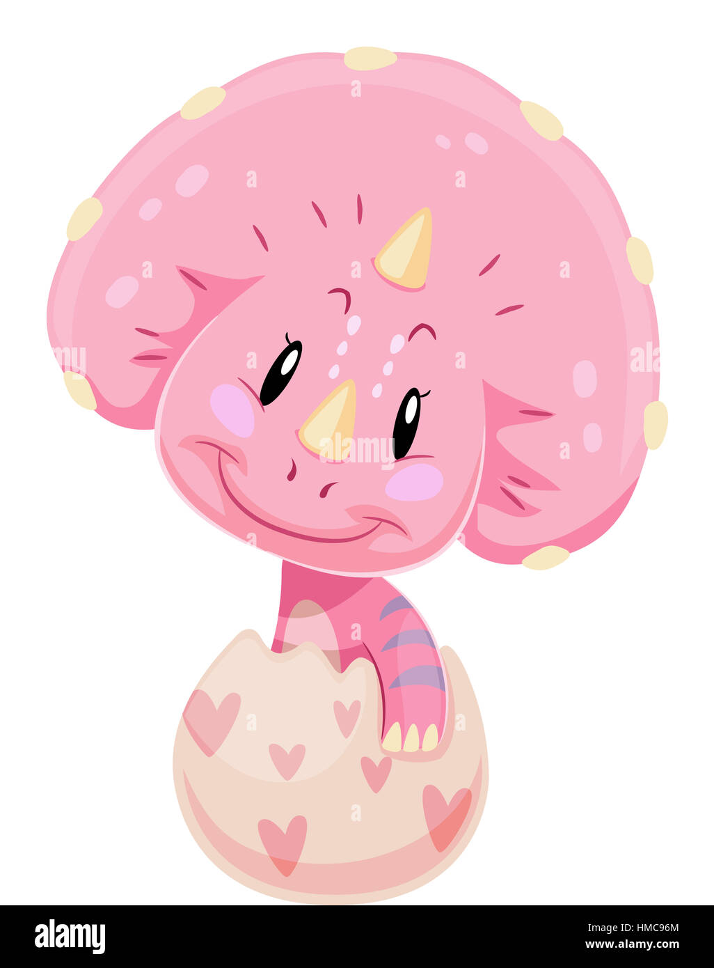 dinosaur illustration of a cute pink baby triceratops