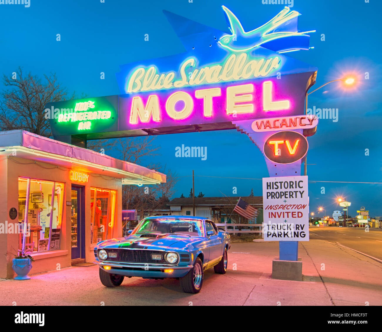 Twilight At The Historic Blue Swallow Motel On Route A