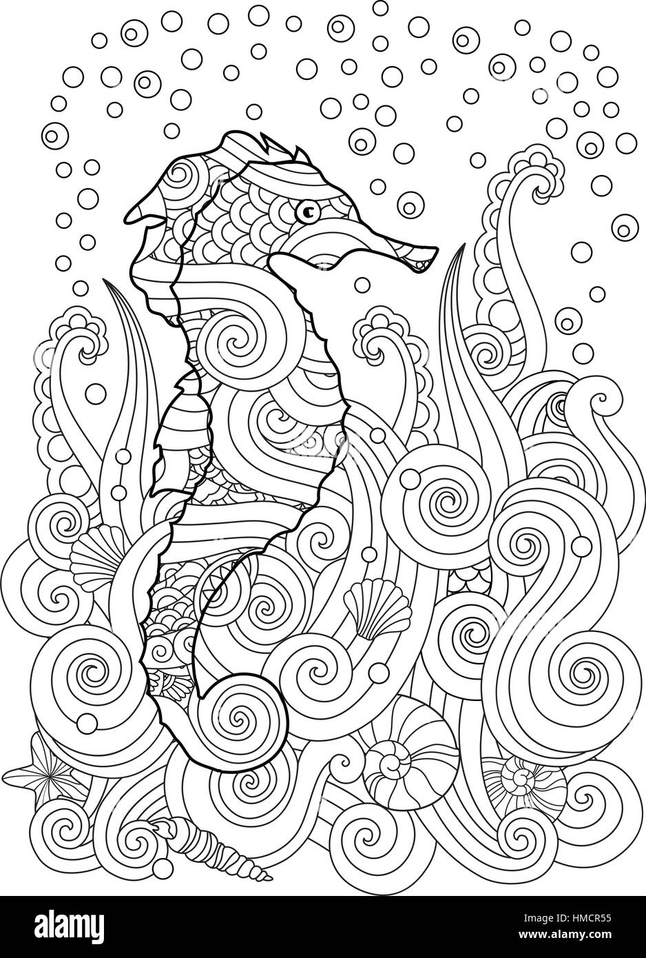Hand Drawn Sketch Of Seahorse Under The Sea In Zentangle