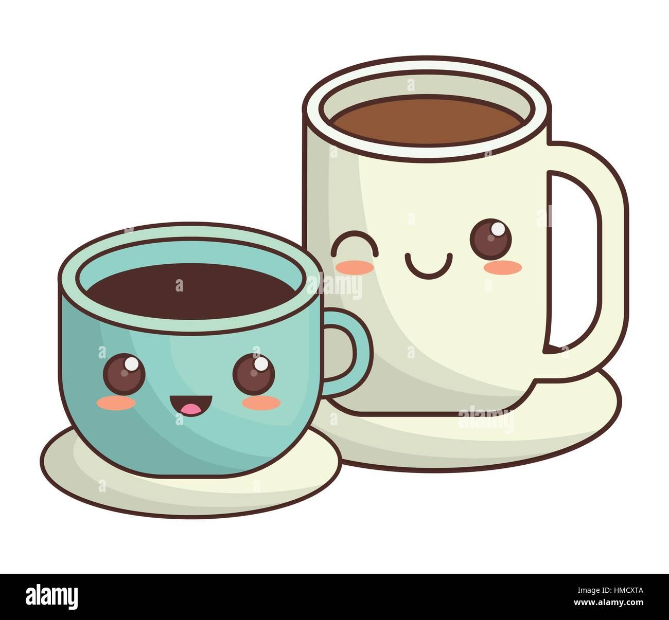 Japanese Coffee Mugs Coffee Cup Kawaii Icon Image Vector Illustration Design