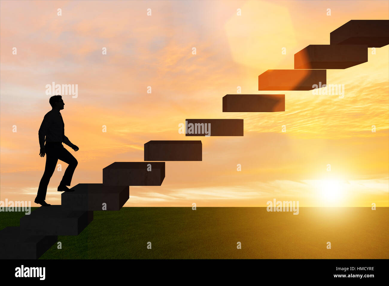 businessman in career promotion concept stairs stock photo businessman in career promotion concept stairs